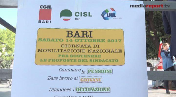 Bari, sindacati in piazza per pensioni, sanita', giovani e lavoro