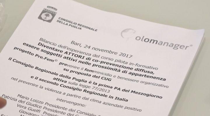 Puglia, Consiglio regionale: un corso di formazione, per il contrasto del femminicidio, rivolto ai propri dipendenti