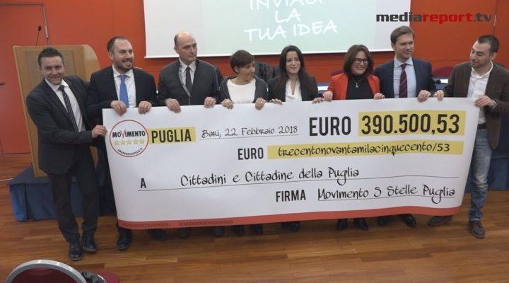Restitution Day : i pentastellati pugliesi restituiscono altri 257 mila euro destinandoli alle scuole e alla cultura
