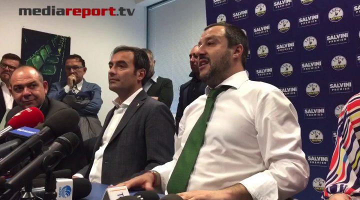 """Salvini a Bari: """"Fossi in Emiliano mi dimetterei"""""""