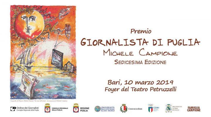 Giornalista di Puglia 2019 – 16ma edizione Premio Campione – diretta streaming